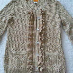 Ruby Rd. Gold Metallic Knit Cartigan